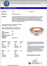 0.91 CTW Certified Diamond Solitaire Bridal Antique Ring 18K Rose Gold - 27277-REF#121H2W