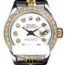 Rolex Men's 2Tone 14K Gold/ SS, QuickSet, Diamond Dial & Diamond Bezel - REF#458A2M