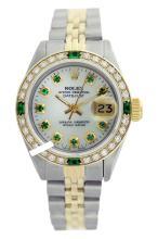 Rolex Men's 2Tone 14K Gold/ SS, QuickSet, Diam/Emerald Dial & Diam/Emerald Bezel - REF#458T2V