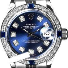 Rolex Men's Stainless Steel, QuickSet, Diam Dial & Diam/Sapphire Bezel - REF#425X5G