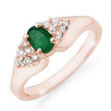 Genuine 0.63 ctw Emerald & Diamond Ring 14K Rose Gold - 12537-#35F2M