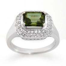 Genuine 2.40 ctw Green Tourmaline & Diamond Ring 14K White Gold - 10625-#69F2M