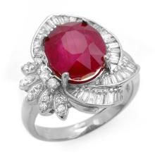 Genuine 5.20 ctw Ruby & Diamond Ring 18K White Gold - 12867-#113R2H