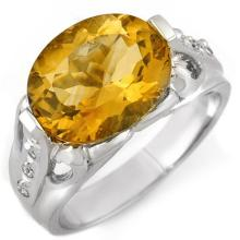 Natural 4.60 ctw Citrine & Diamond Ring 10K White Gold - 10054-#29W2K
