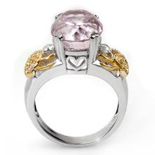 Natural 9.20 ctw Kunzite & Diamond Ring 10K 2-Tone Gold - 11046-#84R2H