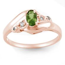 Genuine 0.42 ctw Green Tourmaline & Diamond Ring 14K Rose Gold - 10867-#21G3R