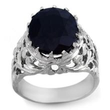 Genuine 12.0 ctw Blue Sapphire Men's Ring 10K White Gold - 11511-#65V8A