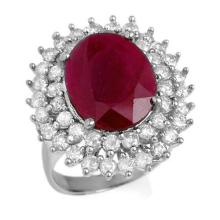 Genuine 9.83 ctw Ruby & Diamond Ring 18K White Gold - 12985-#221M5G