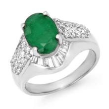 Natural 2.57 ctw Emerald & Diamond Ring 18K White Gold - 13320-#85G3R