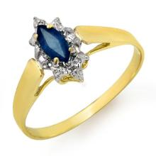 Natural 0.33 ctw Blue Sapphire Ring 10K Yellow Gold - 12988-#9W2K