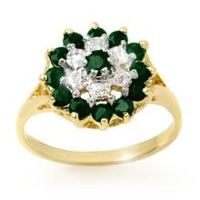 Genuine 1.02 ctw Emerald & Diamond Ring 10K Yellow Gold - 12495-#19T8Z