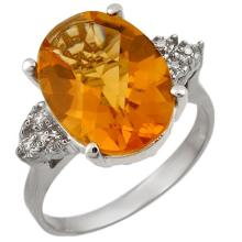 Genuine 5.10 ctw Citrine & Diamond Ring 18K White Gold - 11393-#49P2X