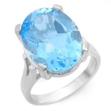 Natural 14.0 ctw Blue Topaz Ring 10K White Gold - 10650-#35Z2P