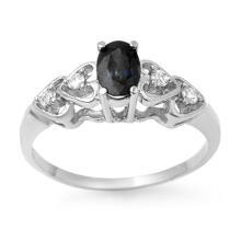 Genuine 0.57 ctw Blue Sapphire & Diamond Ring 10K White Gold - 12643-#13K5T