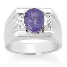 Natural 2.56 ctw Tanzanite & Diamond Men's Ring 10K White Gold - 14468-#70T8Z