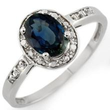 Genuine 1.35 ctw Blue Sapphire & Diamond Ring 10K White Gold - 10465-#14R3H