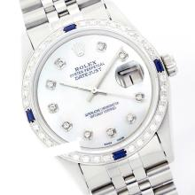 Rolex Men's Stainless Steel, QuickSet, Diam Dial & Diam/Sapphire Bezel - REF#436Z4F