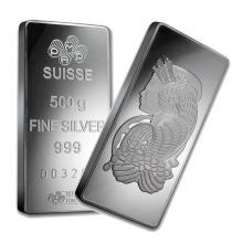 One piece 500 gram 0.999 Fine Silver Bar PAMP Suisse Fortuna