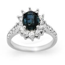 Natural 3.15 ctw Blue Sapphire & Diamond Ring 18K White Gold - 14194-#79X3Y