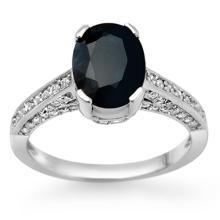 Natural 3.50 ctw Blue Sapphire & Diamond Ring 18K White Gold - 11876-#60K3T