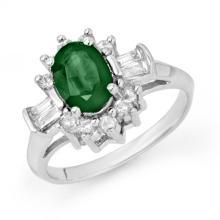 Genuine 1.98 ctw Emerald & Diamond Ring 18K White Gold - 13123-#58V2A
