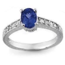 Genuine 1.02 ctw Blue Sapphire & Diamond Ring 14K White Gold - 14107-#27F2M