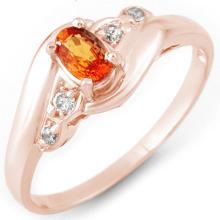 Genuine 0.42 ctw Orange Sapphire & Diamond Ring 14K Rose Gold - 10889-#21V2A