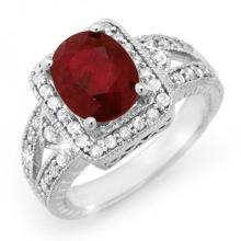 Genuine 3.20 ctw Ruby & Diamond Ring 14K White Gold - 14257-#77W3K