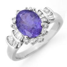 Natural 2.90 ctw Tanzanite & Diamond Ring 18K White Gold - 14448-#88P7X