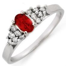 Genuine 0.50 ctw Red Sapphire & Diamond Ring 10K White Gold - 10199-#16N2F