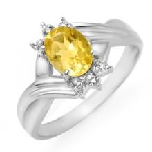Natural 1.04 ctw Citrine & Diamond Ring 18K White Gold - 12470-#25R8H