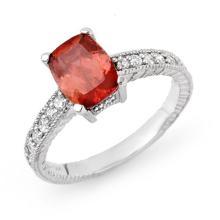 Genuine 1.40 ctw Rubellite & Diamond Ring 14K White Gold - 13689-#46K2T