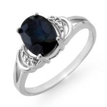 Genuine 2.06 ctw Blue Sapphire & Diamond Ring 18K White Gold - 12387-#24Y8V