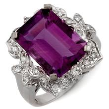 Genuine 9.25 ctw Amethyst & Diamond Ring 14K White Gold - 11239-#53P2X