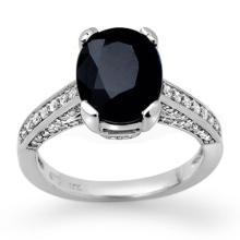 Genuine 3.75 ctw Blue Sapphire & Diamond Ring 10K White Gold - 11885-#49N7F