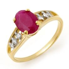 Genuine 1.70 ctw Ruby & Diamond Ring 10K Yellow Gold - 13957-#16X5Y