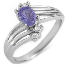 Natural 0.70 ctw Tanzanite & Diamond Ring 10K White Gold - 10124-#19G7R