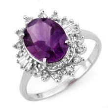 Genuine 3.45 ctw Amethyst & Diamond Ring 18K White Gold - 10759-#55Y5V