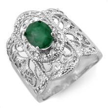 Natural 2.15 ctw Emerald & Diamond Ring 10K White Gold - 10576-#56Z8P