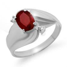 Genuine 1.08 ctw Ruby & Diamond Ring 14K White Gold - 12785-#24X3Y