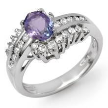 Genuine 1.50 ctw Tanzanite & Diamond Ring 18K White Gold - 11887-#79N8F