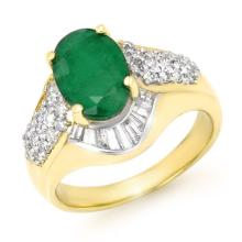 Genuine 2.57 ctw Emerald & Diamond Ring 14K Yellow Gold - 13319-#69G3R