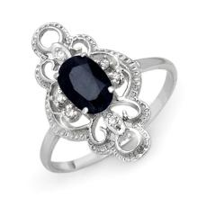 Genuine 1.10 ctw Blue Sapphire & Diamond Ring 10K White Gold - 12287-#16Y5V