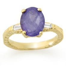 Genuine 3.70 ctw Tanzanite & Diamond Ring 10K Yellow Gold - 11679-#96P3X