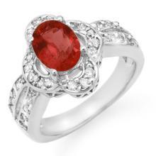 Natural 2.60 ctw Pink Tourmaline & Diamond Ring 18K White Gold - 13874-#100T2Z