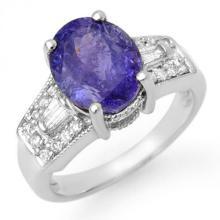 Natural 5.55 ctw Tanzanite & Diamond Ring 14K White Gold - 11694-#145A7N