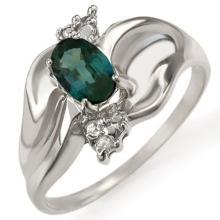Genuine 0.79 ctw Blue Sapphire & Diamond Ring 10K White Gold - 11409-#16A2N