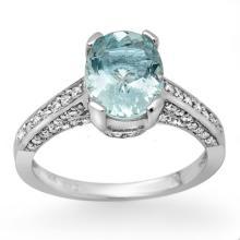 Natural 2.30 ctw Aquamarine & Diamond Ring 18K White Gold - 11874-#63F3M