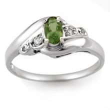 Genuine 0.42 ctw Green Tourmaline & Diamond Ring 18K White Gold - 10869-#28Z3P