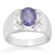 Natural 2.80 ctw Tanzanite & Diamond Men's Ring 10K White Gold - 14490-#71G2R